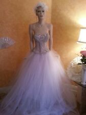 CUSTOM ORDER Crystal Sheer Boned White & Silver Corset Tulle Wedding Ball Gown