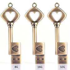 8GB Retro Metal Heart Key USB 2.0 Memory Stick Flash Drive Thumb Drive Disk
