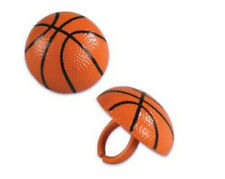 Basketball cupcake rings (24) party favor cake topper 2 dozen 3D 3 dimensional