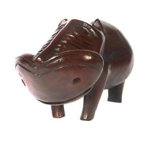 Superb Vintage Large AFRICAN HAND CARVED EBONY WOOD ANIMAL FIGURINE HIPPOPOTAMUS