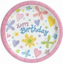 "Girl Birthday Party Supplies ""Cute Birthday"" Butterfly Flowers Dinner Plate 8pk"