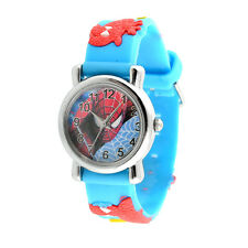New Fashion Blue Cartoon Child Boys Kid Quartz Spider Man Wrist Watch Gifts