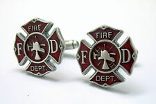 Cut Out Fire Man Firemens Shield Cufflinks Cuff Links Free Same Day Shipping