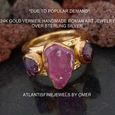GENUINE ROUGH RUBY DESIGNER JEWELRY RING BY OMER 24K YELLOW GOLD OVER 925 SILVER