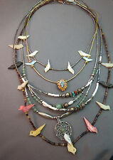 Lot 5 Necklaces Southwestern Style Carve Birds Dream Catcher Liquid Silver Style