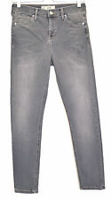 Topshop SUPER SKINNY JAMIE High Waisted GREY Stretch Crop Jeans Size 10 W28 L32