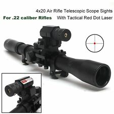 4x20 Air Gun Rifle Optics Scope +20mm Rail Mounts +Red Laser Sight For Hunting