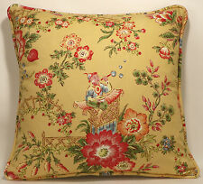 "2 20"" Ningbo Asian Yellow Toile Richloom Floral  Pattern Designer Throw Pillows"