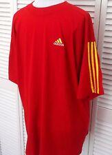 Mens ADIDAS T-Shirt XXL RED Three Stripe Embroidered Logo Short Sleeve Mens NEW