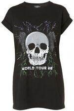 Topshop Black World Tour 86 Tshirt Tee BNWT UK Size S/M Oversized Skull Rock