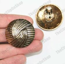 BIG DOMED DISC geometric CLIP ON art deco circle EARRINGS vintage gold plated