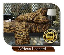 5 STAR 600tc Thread Count EGYPTIAN COTTON AFRICAN LEOPARD Queen Bed Sheets Sheet