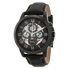 Fossil Grant Multi-Function Black Skeletal Dial Black Leather Mens Watch ME3028