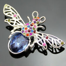 Victorian Silver Filigree Bumble Bee Insect Sapphire Gemstone Lapel Brooch Pin