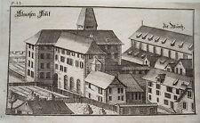 Zürich Augustiner Kloster  Schweiz Bluntschli  echter alter Kupferstich 1742