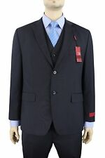 $550 Alfani RED Slim Fit 44S Navy Mini striped Three Piece Wool Blend Suit