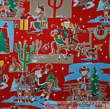 BonEful Fabric FQ Cotton Quilt Red Green Cow*boy Girl Xmas Tree Horse Hat Santa