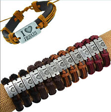 "Wholesale 12pcs Handmade Leather ""I Love JESUS"" Accessories Bracelet for Gift"