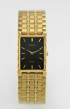 Pulsar Men's Black Easy Read Gold Stainless Steel Water Resistant Quartz Watch