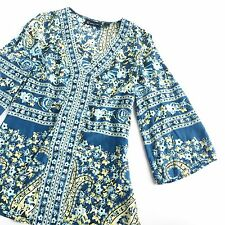 INC Silk Floral Boho Blouse 4 Bell Sleeve Blue Green Indian Tunic Top Career