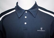 Embroidered Maserati Polo Shirt Men's Dark Blue with White Trim XL See Photos!