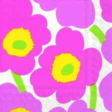 Marimekko UNIKKO light pink paper lunch napkins new 20 in pack 33 cm sq