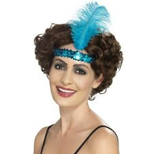 Women's 20's 30's Charleston Lady Fancy Dress Flapper Blue Headband & Feather