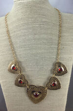 Vintage Necklace Sarah Coventry Ruby Rhinestone heart Gold Filigree Graduated