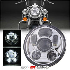 Chrome 5-3/4'' 5.75'' H4 Daymaker Projector LED Headlight for Harley Motorcycle