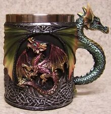 Tankard Goblet Mug Green Dragon 12 ounce pour NEW Stainless Steel Insert