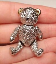 VINTAGE TEDDY BEAR MOVABLE CUTE ARTICULATED BROOCH PIN SILVER & GOLD TONE