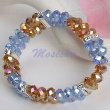 """1X Elastic 2-Rows Brown Blue 6*8mm Crystal Glass Faceted Beads 7"""" Bracelet Gift"""