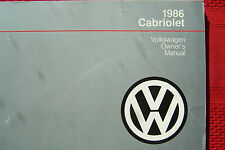 1986 VW cabriolet Owners Manual Parts Service original new