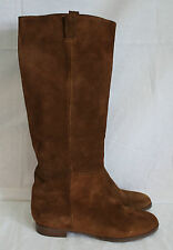 J CREW SUEDE BRYCE BOOTS WITH EXTENDED CALF DARK COGNAC SIZE 7.5