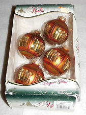 Vintage Krebs 4 Elegant Red Glass Christmas Ornaments Autumn Velvet Books Box
