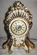 **LE MIENX CHINA DECORATED 22K GOLD ELECTRIC MANTEL SHELF CLOCK** Lanshire