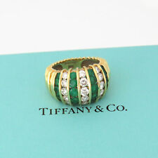NYJEWEL Tiffany Co. 18k Solid Gold 3ct Emerald Diamond Band Ring
