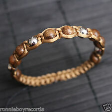 Brown Wooden Silver Metal Beads Gold Shamballa Adjustable Bracelet Men Women