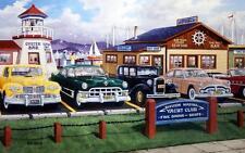 """Ken Zylla """"Lap of Luxury"""" Old Car Seaside Art Print  21.5"""" x 13.5"""""""