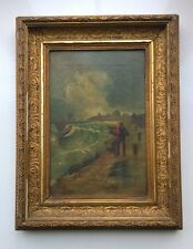 Mid 19th Century Original Oil Painting Stormy Sea & Fisherman Harbour Seascape