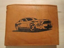 "Mankind Wallets-Men's Tan Leather Billfold-w/ FREE ""Shelby GT500 Mustang"" Image"