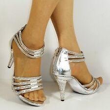 NEW Ladies Party Bridal Diamante Ankle Straps Mid Heel Shoes Sandals Size 720-3