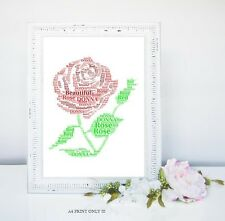 PERSONALISED VALENTINES RED ROSE WORD ART GIFT KEEPSAKE 14TH FEB A4 PRINT ONLY