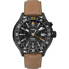 Timex Men's Intelligent Quartz | 3 Time Zones Brown Strap Black Case | T2P427