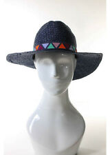NEW TIGERLILY Indigo Blue Embroidered Ribbon Straw Gaucin Hat $88