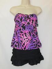 NWT Island Escape 2 Piece Tankini Top & Skirtini Purple Floral & Black Size 8