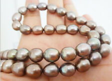 """18""""9X12MM NATURAL SOUTH SEA GENUINE CHOCOLATE CHAMPAGNE DROP PEARL NECKLACE"""