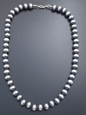 """Marilyn Platero Sterling Silver Navajo Pearl Necklace 20"""" 10MM"""