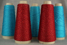 FIVE CONES FINE LUREX GLITTER YARN 10 BALL KNIT CROCHET RED TURQUOISE LACEWEIGHT