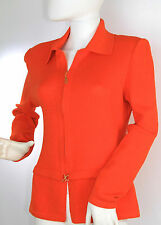 ST. JOHN KNITS  SJK Orange Santana Knit Zip Cardigan Jacket, Sz 6, VTG St. John